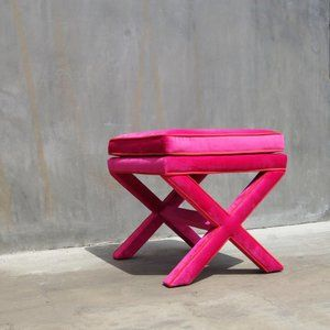 NEW Custom Made Hot Pink Velvet X Bench
